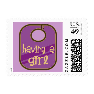 Cute Having A Girl Baby Announcement Postage Stamps