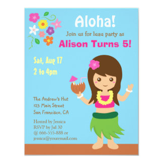 Cute Hawaii Hula Girl Luau Birthday Party Card