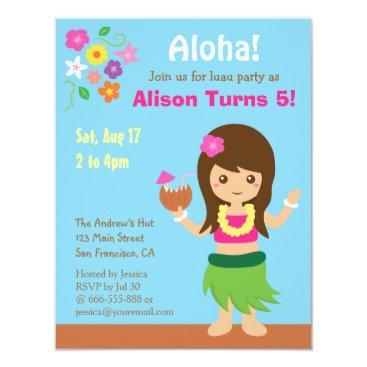 RustyDoodle Cute Hawaii Hula Girl Luau Birthday Party Card