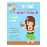 "Cute Hawaii Hula Girl Luau Birthday Party 4.25"" X 5.5"" Invitation Card"