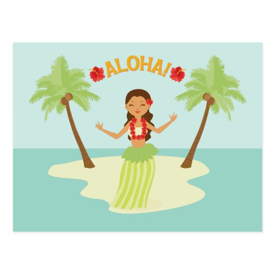 Palm tree luau. Cute hawaiian hula girl