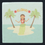 """Cute Hawaiian Luau Hula Girl Coaster<br><div class=""""desc"""">Cute Hawaiian luau,  hula girl stone coaster.  Personalize with your own text.</div>"""