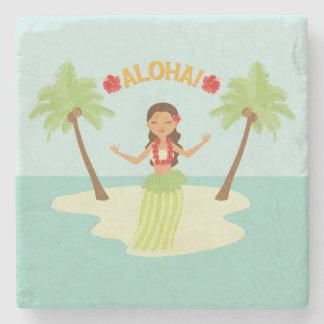 Cute Hawaiian Luau Hula Girl Coaster
