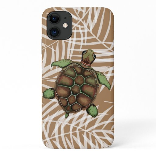 Cute Hawaiian Palm Leaves Turtle Of Nature iPhone 11 Case