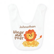 Cute Hear Me Roar Lion Personalized Baby Bib
