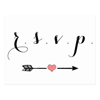 Cute heart arrow wedding rsvp cards