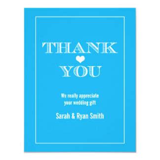 Cute Heart Blue Wedding Thank You Cards Personalized Invites