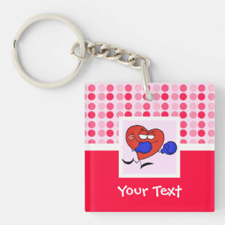 Cute Heart Boxing Double-Sided Square Acrylic Keychain
