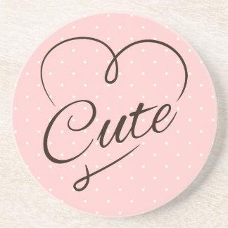 Cute Heart Doodle Sandstone Coaster