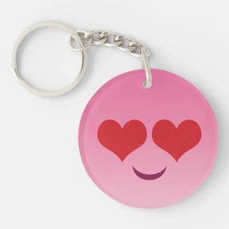 Cute Heart eyes pink emoji Keychain