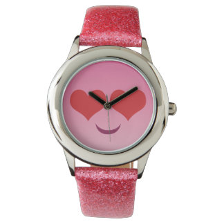 Cute Heart for Eyes Pink emoji Wrist Watch