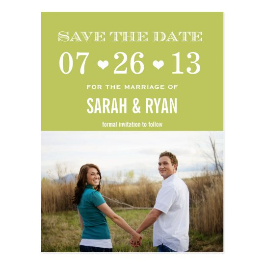 Cute Heart Green Save the Date Photo Postcards