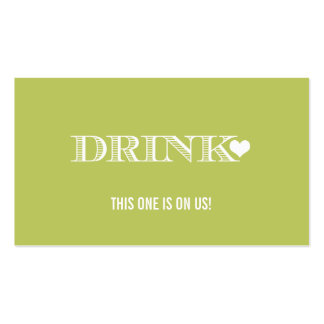 Cute Heart Green Wedding Drink Ticket Double-Sided Standard Business Cards (Pack Of 100)