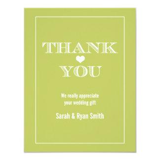 Cute Heart Green Wedding Thank You Cards Invitation