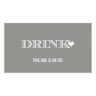 Cute Heart Grey Wedding Drink Ticket Double-Sided Standard Business Cards (Pack Of 100)