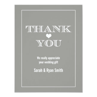 Cute Heart Grey Wedding Thank You Cards Personalized Invitation