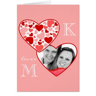 Cute Heart in Heart Customizable Photo Frame Red Greeting Cards
