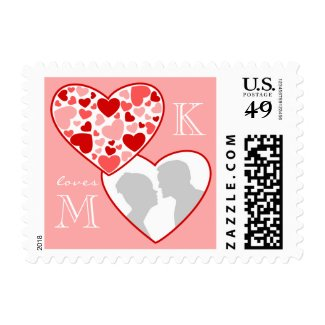 Cute Heart in Heart Customizable Photo Frame Red Postage Stamp