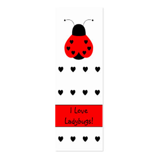 Cute Heart Ladybug Bookmark Business Cards