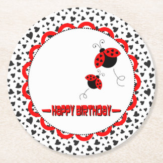 Cute Heart Ladybugs Birthday Party Round Paper Coaster