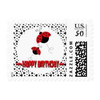 Cute Heart Ladybugs Happy Birthday Postage