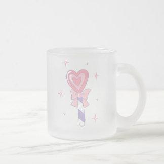 Cute Heart Lollipop Frosted Glass Coffee Mug