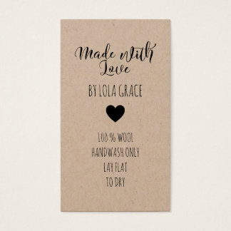 Cute Heart Made with Love Kraft Paper Business Card