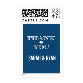 Cute Heart Navy Wedding Thank You Postage