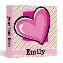 Cute Heart on Pink & Lime Green Stripes Binder