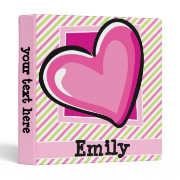 Valentines Themed Cute Heart on Pink & Lime Green Stripes Binder