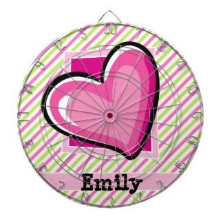 Cute Heart on Pink & Lime Green Stripes Dartboards