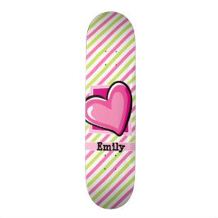 Cute Heart on Pink & Lime Green Stripes Skateboard