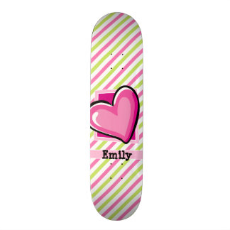 Cute Heart on Pink & Lime Green Stripes Skateboard