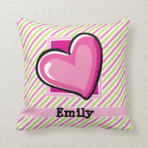 Cute Heart on Pink & Lime Green Stripes Throw Pillow