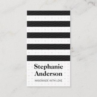 Cute Heart Pattern Leather Stripes Business Card