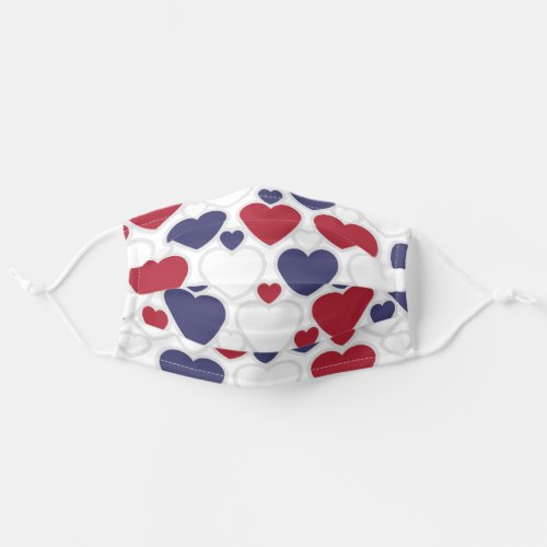Cute Heart Pattern Red White Blue Cloth Face Mask