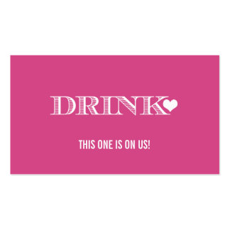 Cute Heart Pink Wedding Drink Ticket Double-Sided Standard Business Cards (Pack Of 100)