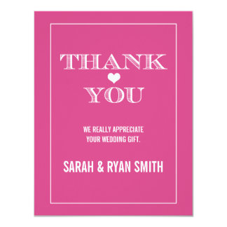 Cute Heart Pink Wedding Thank You Cards Personalized Announcement