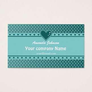 Cute Heart Polka Dot Teal 2 Business Card