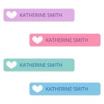 Cute Heart Purple Blue Labels