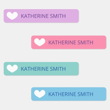 Cute Heart Purple Blue Labels