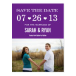 Cute Heart Purple Save the Date Photo Postcards
