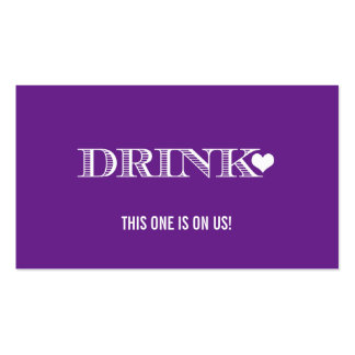 Cute Heart Purple Wedding Drink Ticket Double-Sided Standard Business Cards (Pack Of 100)