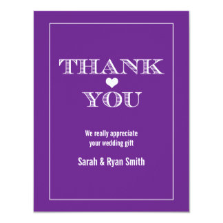 Cute Heart Purple Wedding Thank You Cards Personalized Invite