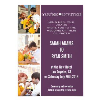 "Cute Heart Purple Wedding Three Photo Invitation 5"" X 7"" Invitation Card"