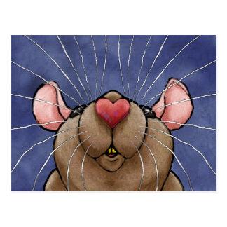Cute Heart Rat Post Card