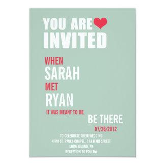 "Cute Heart Red & Green Wedding Invitations 5"" X 7"" Invitation Card"