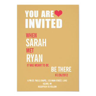 Cute Heart Red & Yellow Wedding Invitations