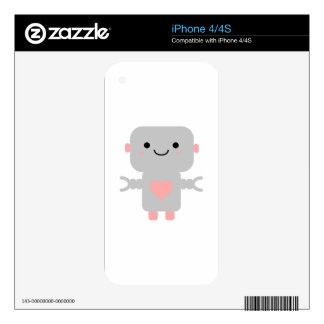 Cute Heart Robot Skin For iPhone 4S