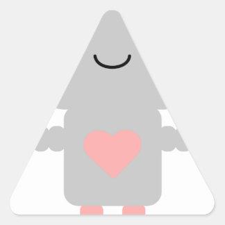 Cute Heart Robot Triangle Sticker
